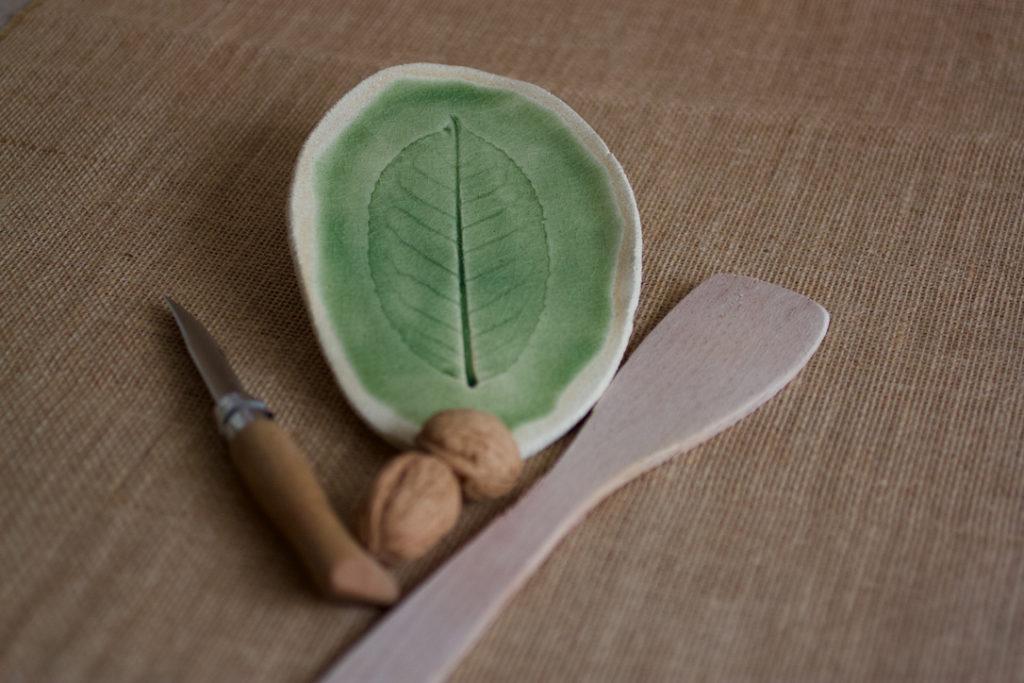mini plateau feuille poterie céramique repose cuillère 2